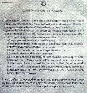It starts out like a normal warranty card but ends with some...additional clauses.