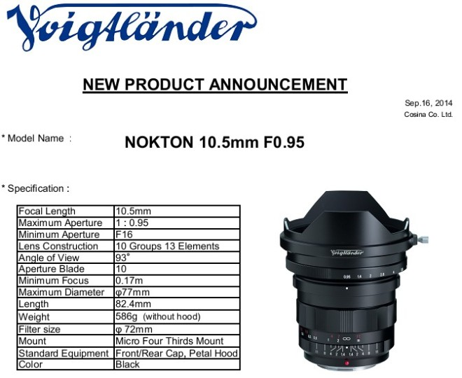 Nokton 10.5mm 0.95